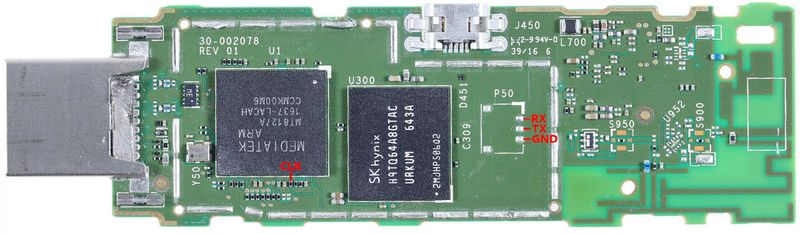 UART pads on amazon-tank
